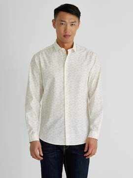 Frank and Oak Multi-Line Cotton-Poplin Shirt in White