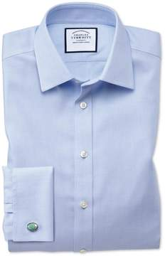Charles Tyrwhitt Slim Fit Non-Iron Step Weave Sky Blue Cotton Dress Shirt Single Cuff Size 15/34