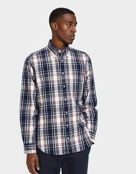 Gitman Brothers Plaid Flannel Shirt in Navy/White