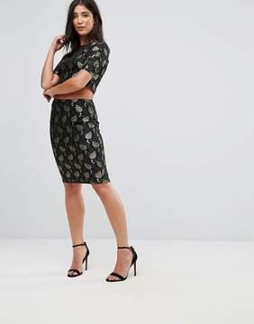 AX Paris Lace Metallic Leaf Pencil Skirt