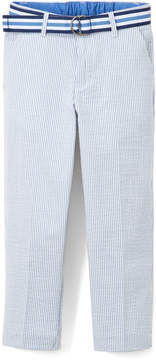 Izod Medium Blue Seersucker Pants & Belt - Boys
