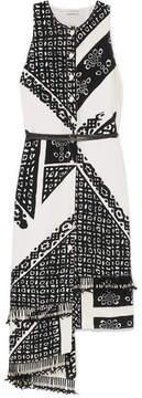 Altuzarra Quartier Asymmetric Printed Silk Midi Dress - Black