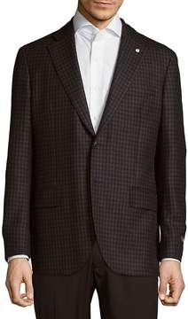 Lubiam Men's Classic Fit Checked Wool-Blend Sportcoat