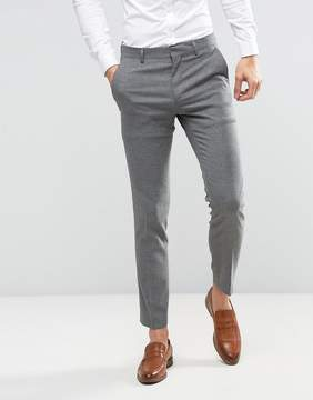 Asos WEDDING Skinny Suit Pant In Gray Micro Texture