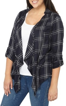 Evans Plus Size Women's Check Plaid Jacket