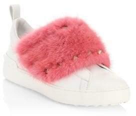 Valentino Fur Trim Studded Sneakers