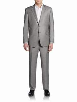 Saks Fifth Avenue BLACK Classic-Fit Wool Sharkskin Two-Button Suit