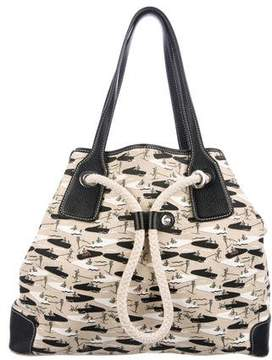 Tod's Leather-Trimmed Printed Canvas Tote