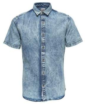 ONLY & SONS Acid Wash Denim Shirt