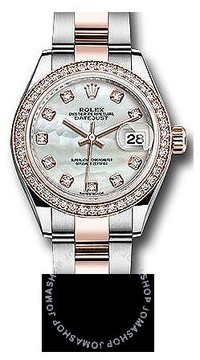 Rolex Lady Datejust Mother Of Pearl Steel And 18k Everose Gold Diamond Watch