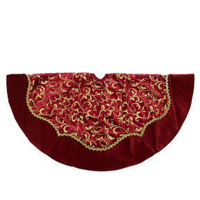 Asstd National Brand 48 Dark Red and Gold Glittered Leaf Flourish Christmas Tree Skirt with Velveteen Trim
