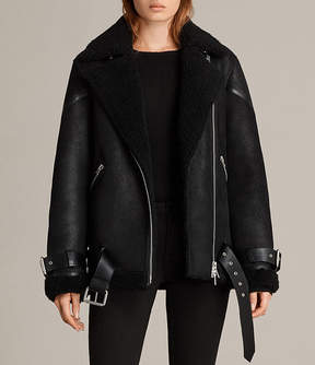 AllSaints Hawley Oversized Shearling Jacket