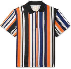 Noon Goons Striped Cotton-Jersey Half-Zip Polo Shirt