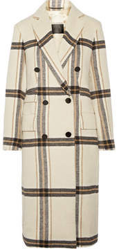 By Malene Birger Gritt Double-breasted Plaid Brushed-felt Coat - Cream