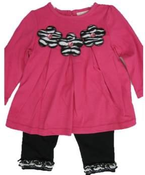 Carter's Baby Girls Pink Flower Applique Ruffle 2 Pc Leggings Set 12M