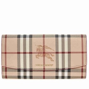 Burberry Haymarket Check Continental Wallet - Plum Pink - ONE COLOR - STYLE