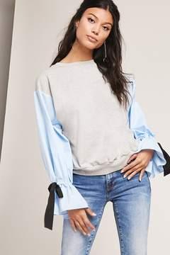 Forever 21 Colorblock Tie-Sleeve Sweatshirt
