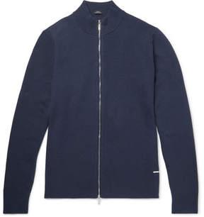 HUGO BOSS Montez Ribbed Cotton-Blend Zip-Up Cardigan