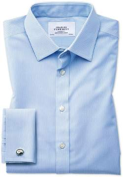 Charles Tyrwhitt Slim Fit Non-Iron Bengal Stripe Sky Blue Cotton Dress Shirt Single Cuff Size 14.5/32