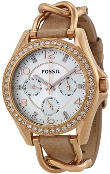 Fossil Riley Multi-Function Sand Dial Bone Leather Ladies Watch