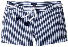 Tommy Hilfiger Stripe Shorts with Novelty Belt Girl's Shorts