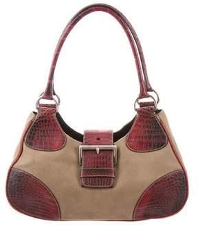 Prada Crocodile-Trimmed Canapa Bag