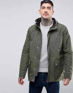 Farah Lonsbury Patch Parka Hooded Jacket in Green