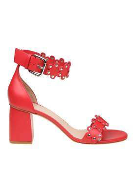 RED Valentino Red Leather Sandal With Applied Flowers
