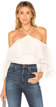 Halston Flutter Sleeve Cold Shoulder Top