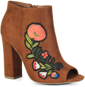 Bamboo Chestnut Floral Encounter Peep-Toe Bootie - Women