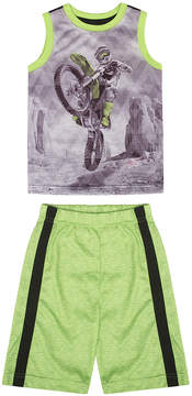 Petit Lem Lime & Black Motorbike Pajama Set - Boys