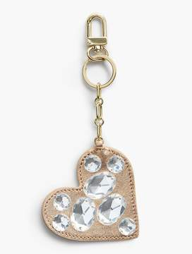Talbots Bejeweled Leather Heart Keychain