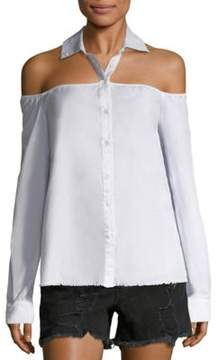 RtA Frankie Cold-Shoulder Cotton Shirt