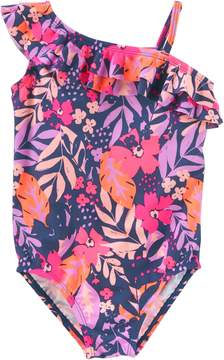 Osh Kosh Oshkosh Bgosh Girls 4-8 Ruffle Asymmetrical Floral One-Piece Swimsuit