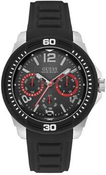 GUESS Men's Black and Silver-Tone Analog Sport Watch