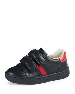 Gucci Leather Grip-Strap Sneaker, Toddler