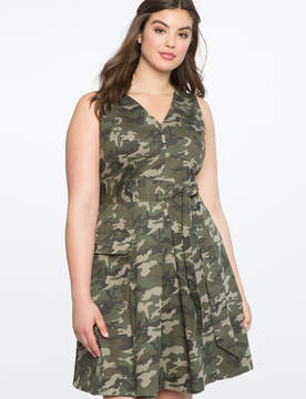 ELOQUII Sleeveless Fit and Flare Camo Dress