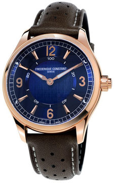 Frederique Constant 42mm Horological Smart Watch with Leather Strap, Brown/Blue