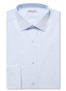 Charvet Blue Slim-Fit Double Cuff Cotton-Poplin Shirt