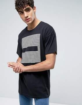 Dr. Denim Marlon Long Line T-Shirt Black Stripes Dash