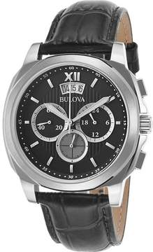 Bulova Watches Mens Classic Chronograph Leather Band Watch