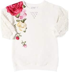 MonnaLisa Light Cotton Sweatshirt Dress W/ Patches