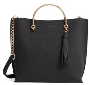 Bp. Metal Handle Faux Leather Satchel - Black