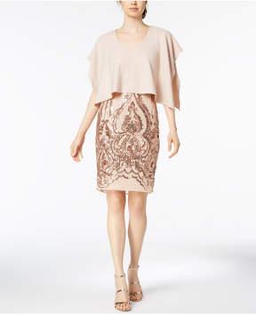 Betsy & Adam Sequined Caped Dress, Regular & Petite Sizes