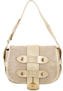 Hogan Leather-Trimmed Canvas Bag