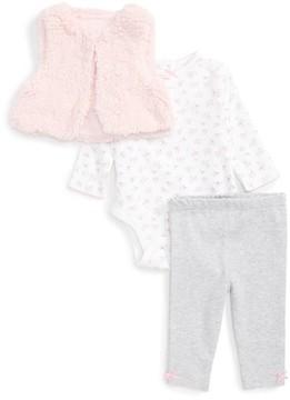 Little Me Infant Girl's Petite Rose Fleece Vest, Bodysuit & Leggings Set