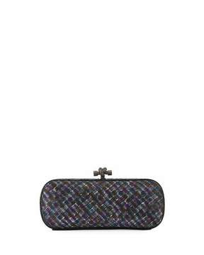 Bottega Veneta Satin Elongated Knot Clutch Bag, Ardoise/Multi