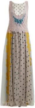 Valentino Flocked-floral velvet dress
