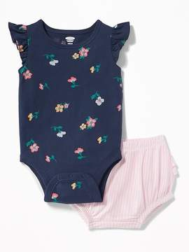 Old Navy Floral Bodysuit & Striped Bloomers Set for Baby