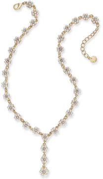 Charter Club Gold-Tone Crystal & Imitation Pearl Flower Y Necklace, 17 + 2 extender, Created for Macy's